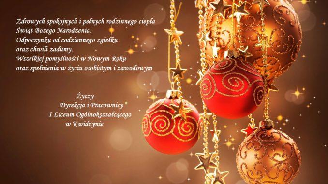 Wesołych świąt Bożego Narodzenia Zespół Szkół